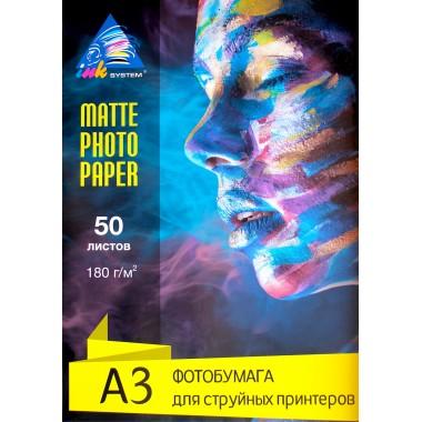 Матовая фотобумага А3 Inksystem 180 г/м² 50 листов