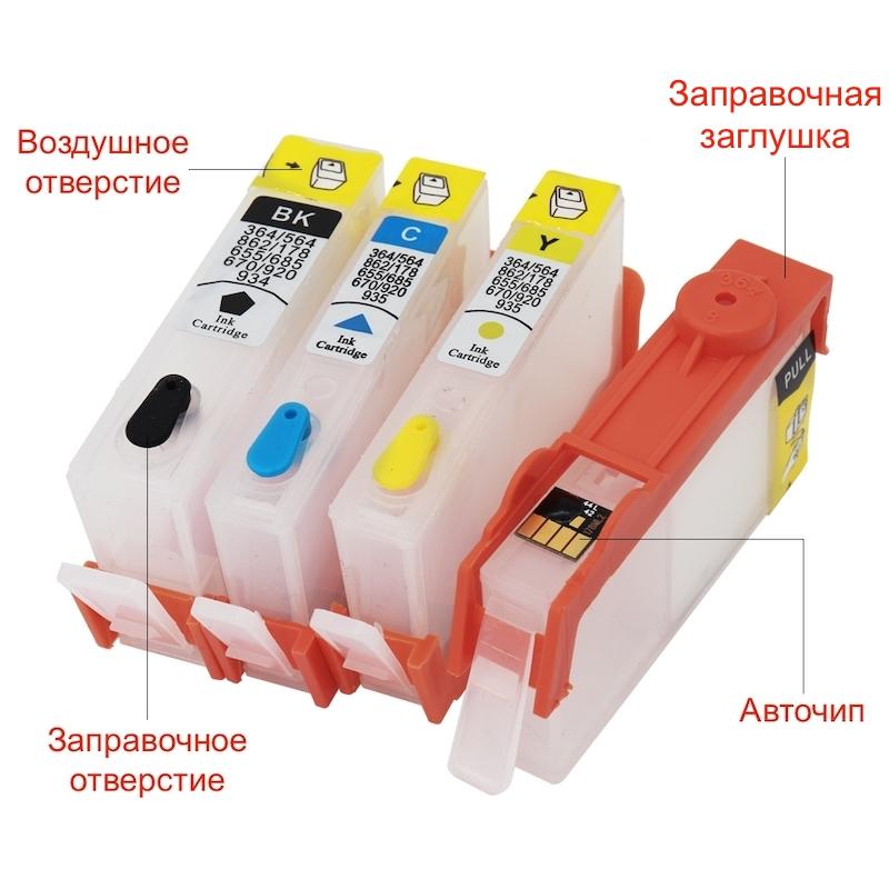 Перезаправляемые картриджи HP совместимость № 178, 364, 564, 655, 670, 685, 862, 902, 903, 904, 905, 920, 922, 934, 935